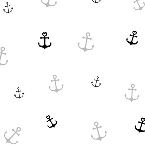 Black and Grey Anchors on White