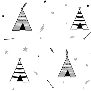 Grey and White Teepees