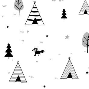 Large Black Teepee and Trees
