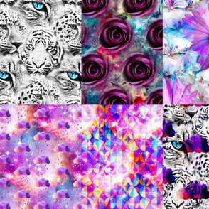 Print Blocks galaxy cats and floral fat quarter