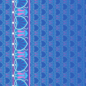 Art Nouveau abstract border blue