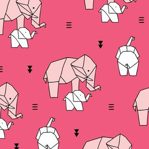Geometric elephants origami paper art safari theme mother and baby girls pastels pink