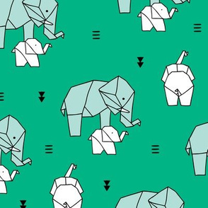 Geometric elephants origami paper art safari theme mother and baby gender neutral green mint