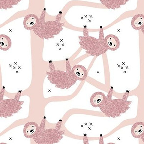 Pura vida sloth animal cute costa rica tropical rainforest animals in Soft pink pastel