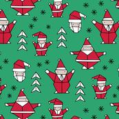 Origami decoration stars seasonal geometric december holiday and santa claus print design red green