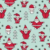 Origami decoration stars seasonal geometric december holiday and santa claus print design red mint