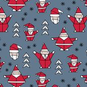 Origami decoration stars seasonal geometric december holiday and santa claus print design red blue