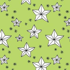 Origami decoration stars seasonal geometric december holiday holy night design lime green