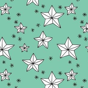 Origami decoration stars seasonal geometric december holiday holy night design mint green