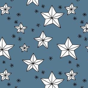 Origami decoration stars seasonal geometric december holiday holy night design blue