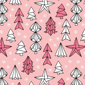 Christmas trees and origami decoration stars seasonal geometric december holiday design pink