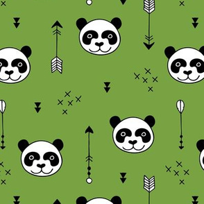 Sweet little baby panda geometric crosses and arrows fabric gender neutral green