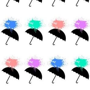 Umbrellas Paint Splatter in White