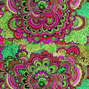 Pink and Green Zen Doodle