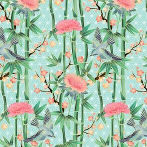 Bamboo, Birds and Blossoms on soft blue - tiny