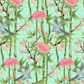 Bamboo, Birds and Blossoms on mint - tiny