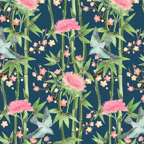 Bamboo, Birds and Blossoms on teal - tiny