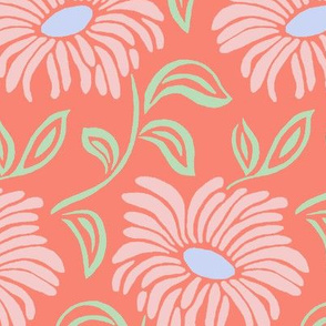Flowy Flowers - Coral