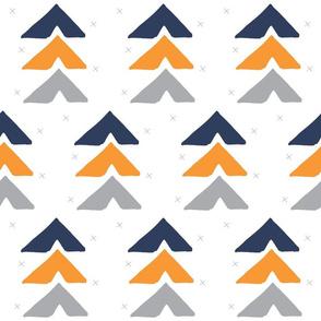 orange + navy + grey