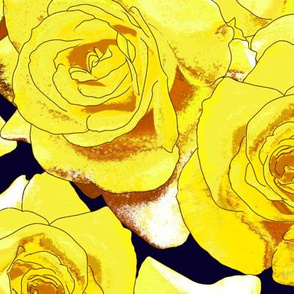 Zonte_Yellow_Roses_on_dk_navy