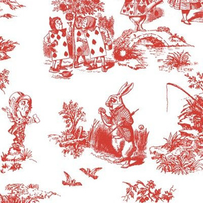 alice red toile de jouy large