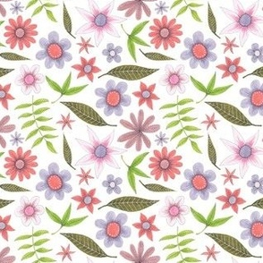 pale flower pattern with leaves