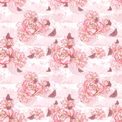 Rose Blossoms and Butterflies