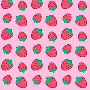 Confett Strawberries Red on Pink