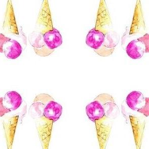 Colorful ice cream summer illustration watercolor