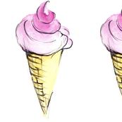 soft ice cream waffle illustration watercolors print