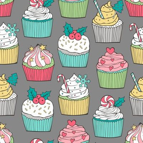 Christmas Cupcakes on Dark Grey