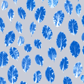 little leaves - cobalt/white/mist