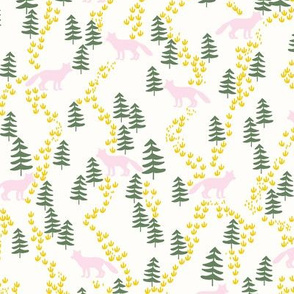 Fall forest foxes in pink and green