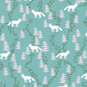 Fall forest foxes in teal and pink