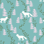 Fall forest foxes in teal and pink - bigger scale
