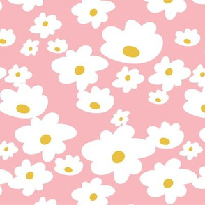 Sweet daisies in vintage pink and mustard yellow - medium
