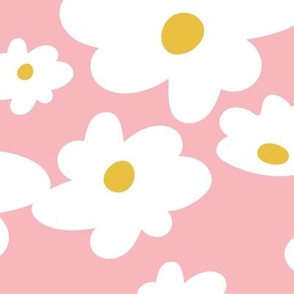 Sweet daisies in vintage pink and mustard yellow - BIG