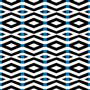 Black and White with Blue Stripe Geometric