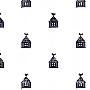 Purple Bird on a House