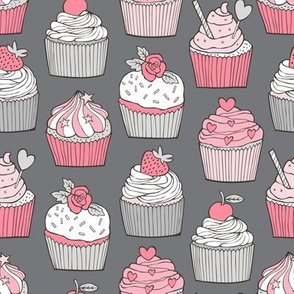 Cupcakes with strawberry,cherries,flower&hearts Pink on Grey