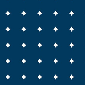 Small Twinkle Pattern White Diamond Stars on Navy Blue Background