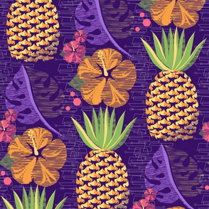 Tropical Pineapple Tiki-Purple12 3/4