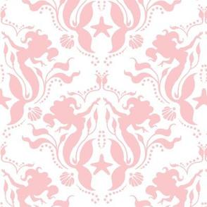 Mermaid Damask - pink/White