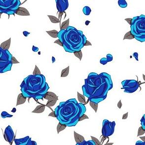 Blue roses on white