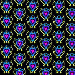 Heart Damask 1- Pruple and Turquoise