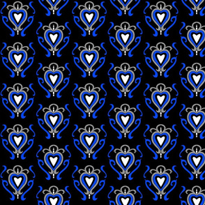 Heart Damask 1- Blue