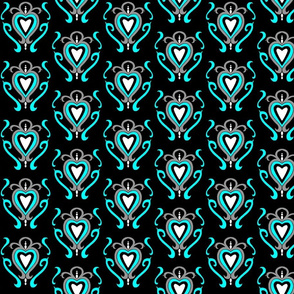 Heart Damask 1- Turquoise