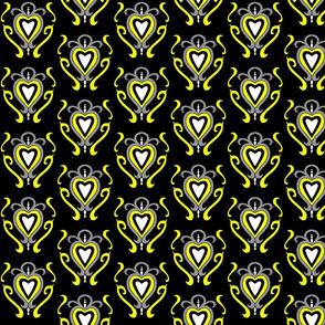 Heart Damask 1- Yellow