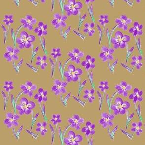 Dainty Meadow Flowers on Caramel