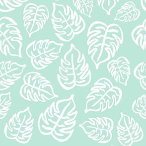drawn tropical leaf - mint green